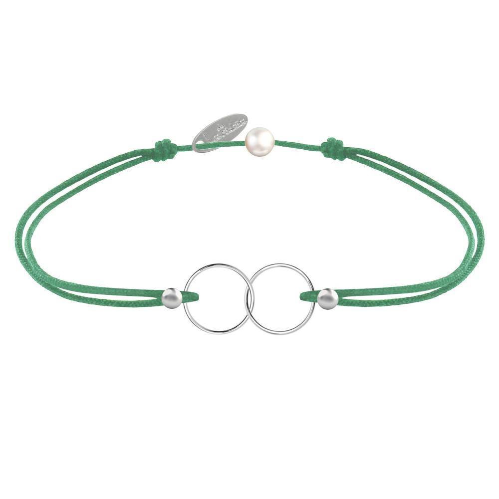 Les Poulettes Bijoux Bracelet Lien Argent Anneaux Toi et Moi - Classics - Vert