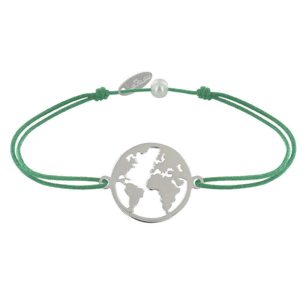 Les Poulettes Bijoux Bracelet Lien Médaille Argent Ronde Mappemonde - Vert