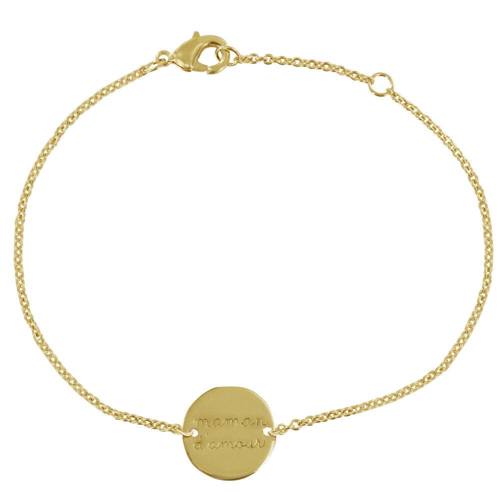 LES POULETTES BIJOUX Bracelet Plaqué Or Médaille Ronde Maman d'Amour