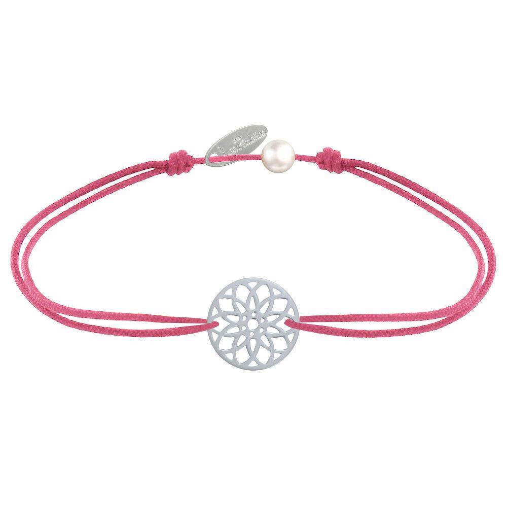 LES POULETTES BIJOUX Bracelet Lien Médaille Argent Mandala Graine de Vie - Fuchsia