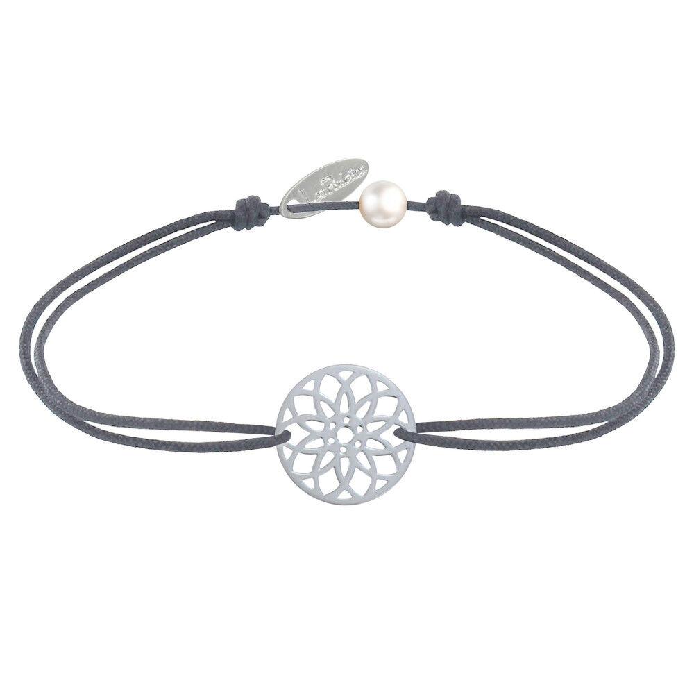 LES POULETTES BIJOUX Bracelet Lien Médaille Argent Mandala Graine de Vie - Gris