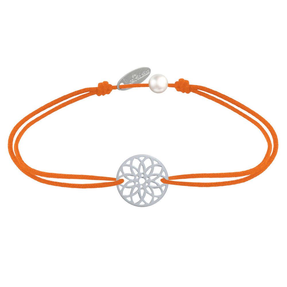 LES POULETTES BIJOUX Bracelet Lien Médaille Argent Mandala Graine de Vie - Orange