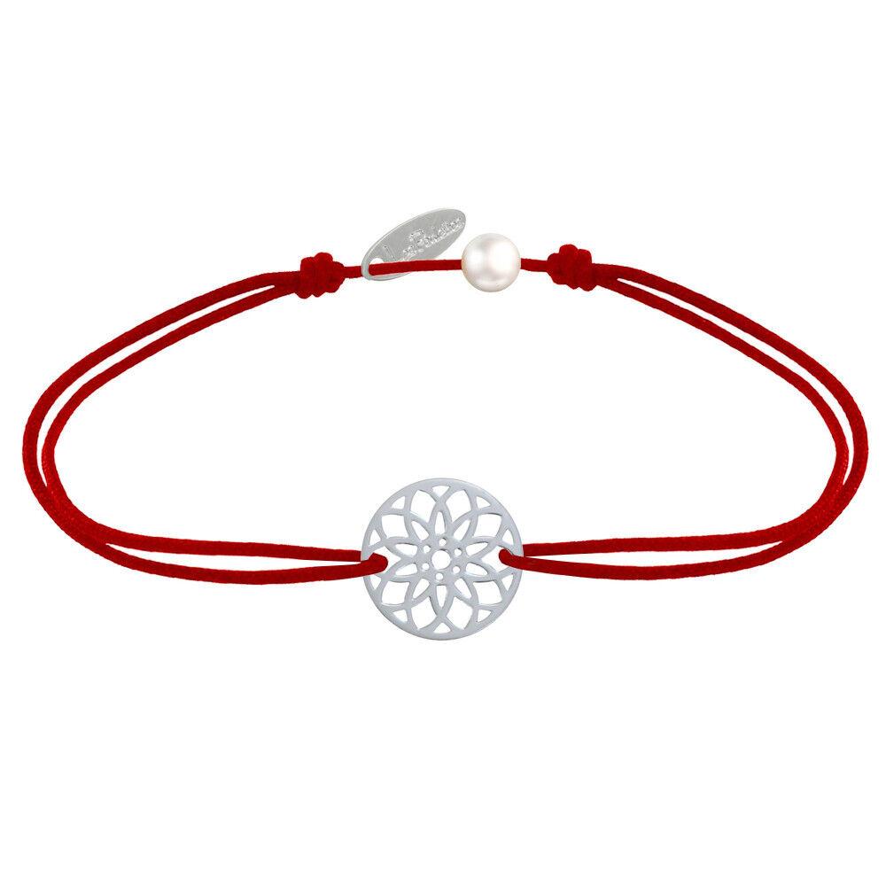 LES POULETTES BIJOUX Bracelet Lien Médaille Argent Mandala Graine de Vie - Rouge