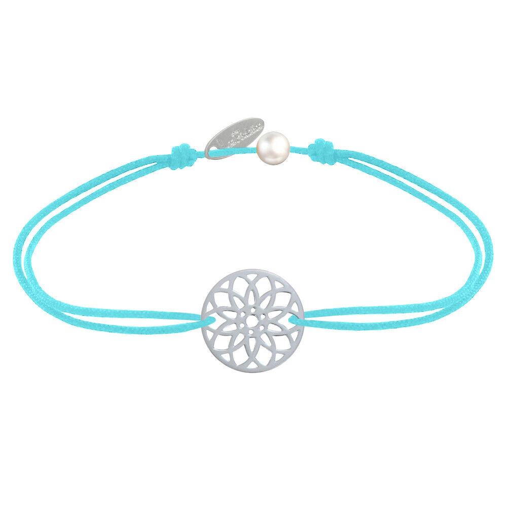 LES POULETTES BIJOUX Bracelet Lien Médaille Argent Mandala Graine de Vie - Turquoise
