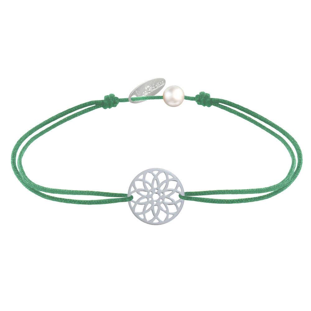 LES POULETTES BIJOUX Bracelet Lien Médaille Argent Mandala Graine de Vie - Vert