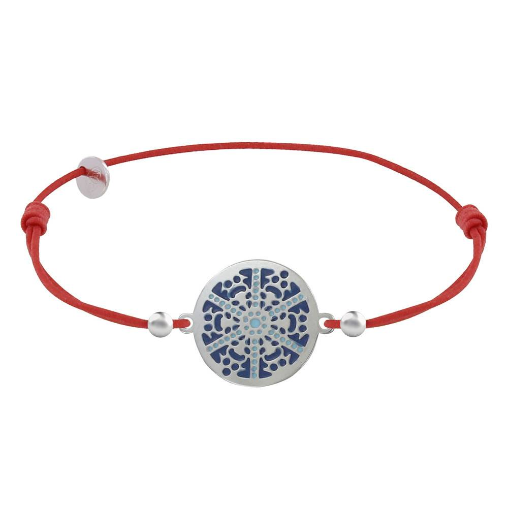 Les Poulettes Bijoux Bracelet Lien Elastique Rouge Médaille Argent Rhodié Flocon Émail Bleue