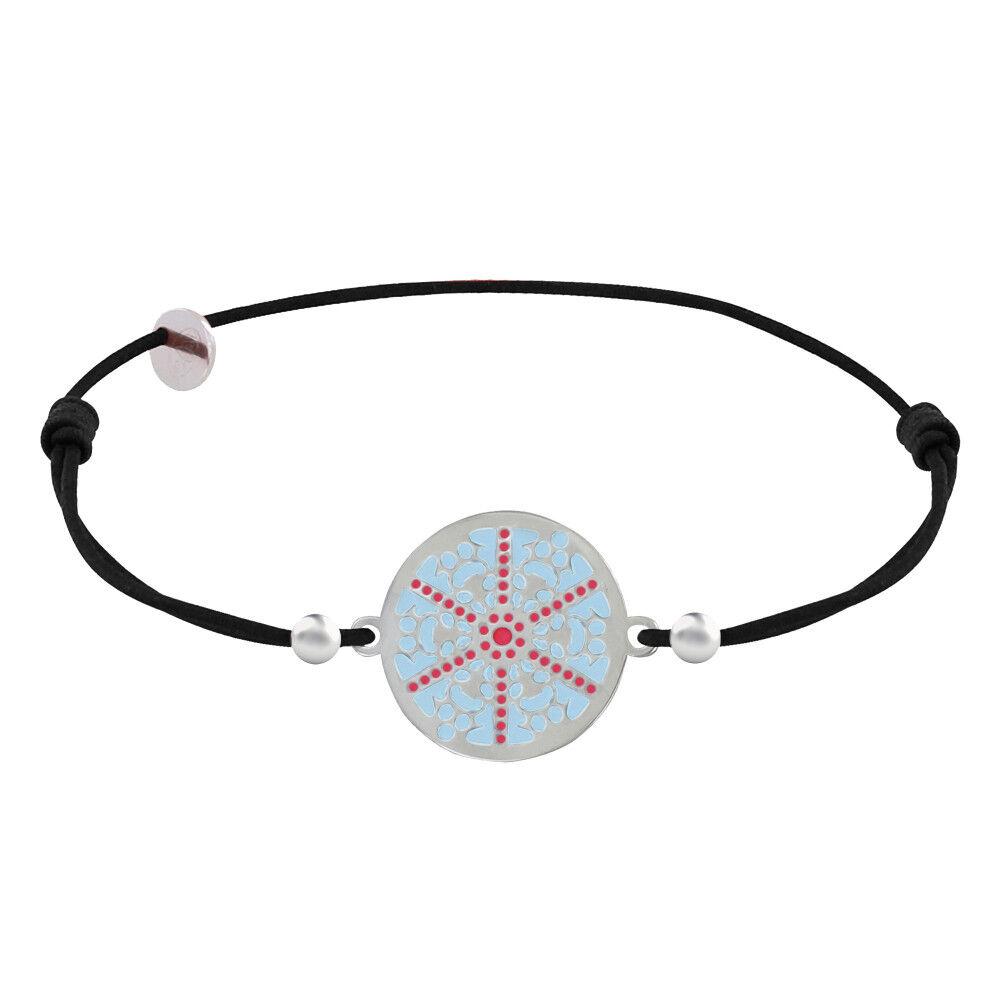Les Poulettes Bijoux Bracelet Lien Elastique Noir Médaille Argent Rhodié Flocon Émail Bleu et Rouge