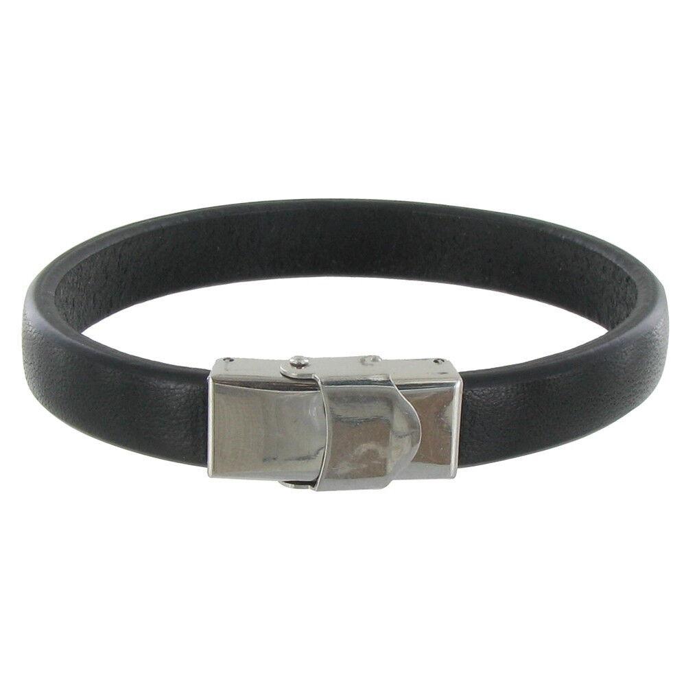 LES POULETTES BIJOUX Bracelet Enfant Cuir Noir Large Fermoir Acier Inoxydable