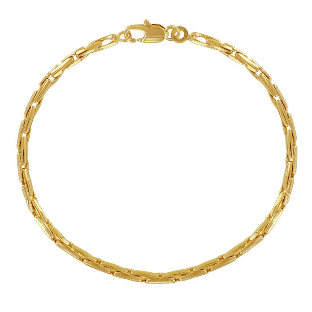 LES POULETTES BIJOUX Bracelet Plaqué Or Mailles Grain de Riz