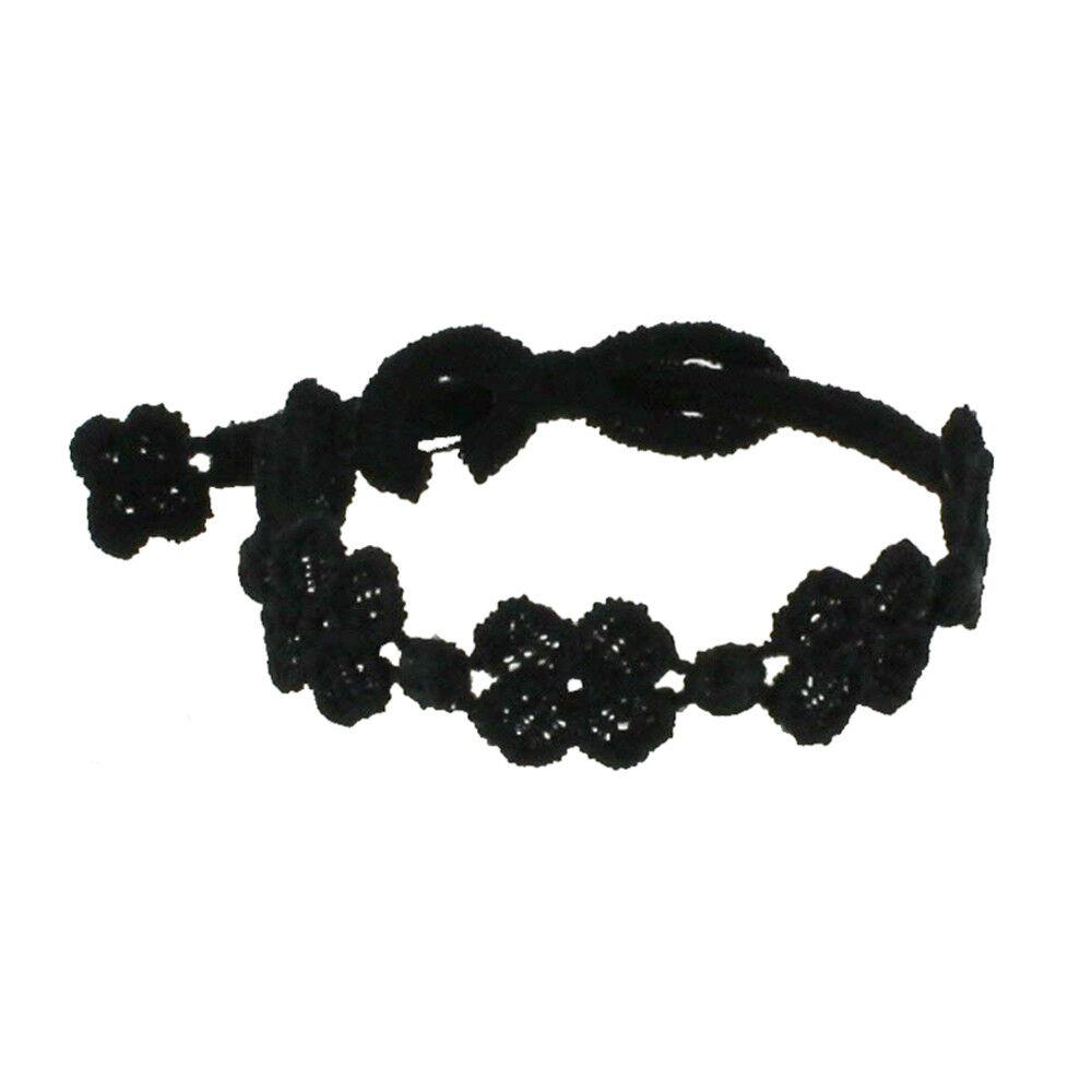 LES POULETTES BIJOUX Cruciani Bracelet Enfant Dentelle 5 Trèfles Noir