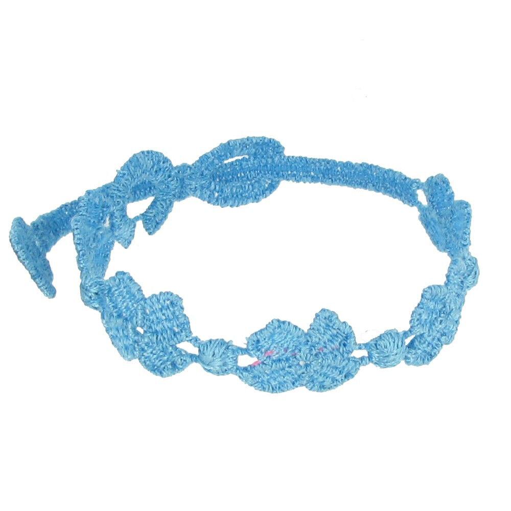 LES POULETTES BIJOUX Cruciani Bracelet Enfant Dentelle 5 Trèfles Turquoise