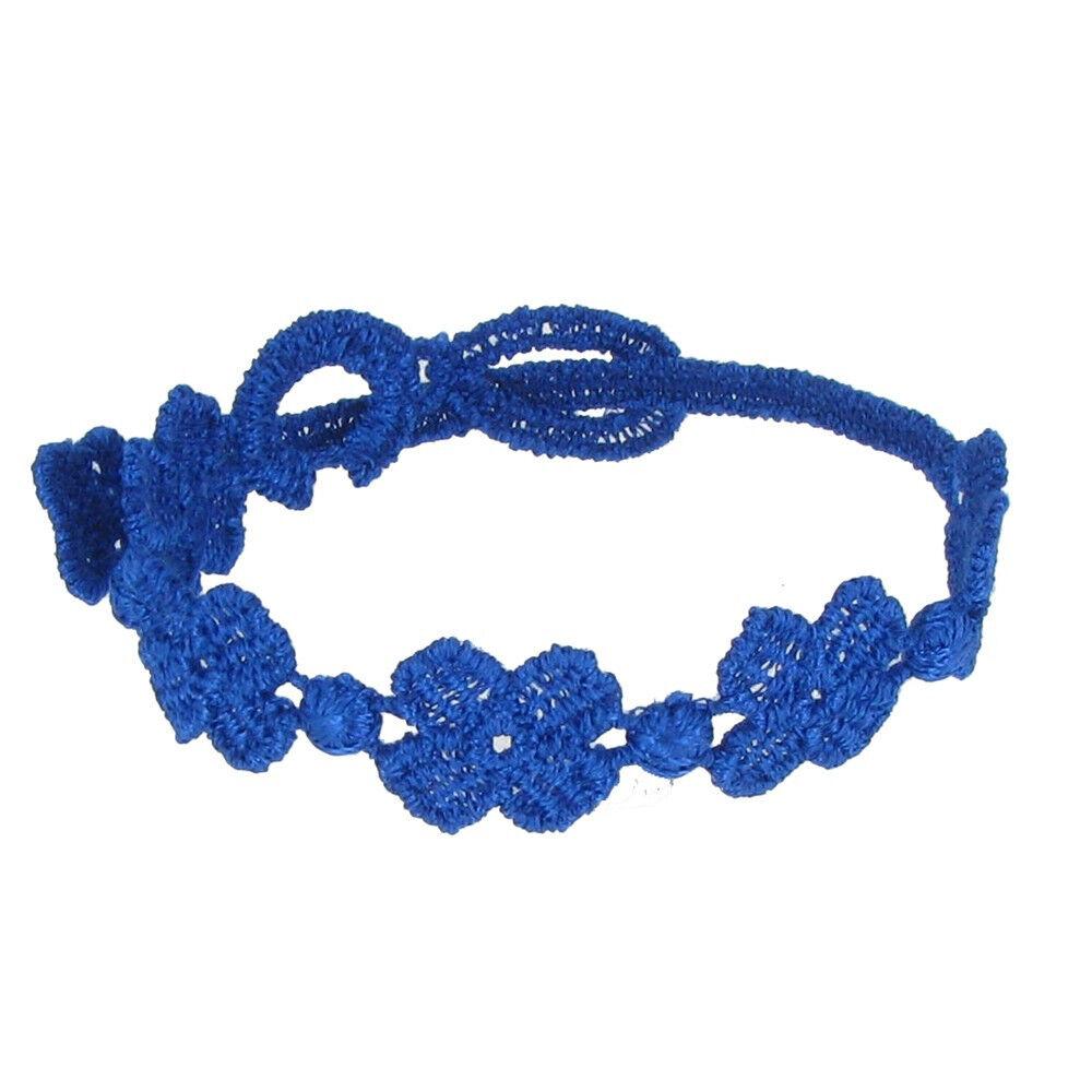 LES POULETTES BIJOUX Cruciani Bracelet Enfant Dentelle 5 Trèfles Bleus