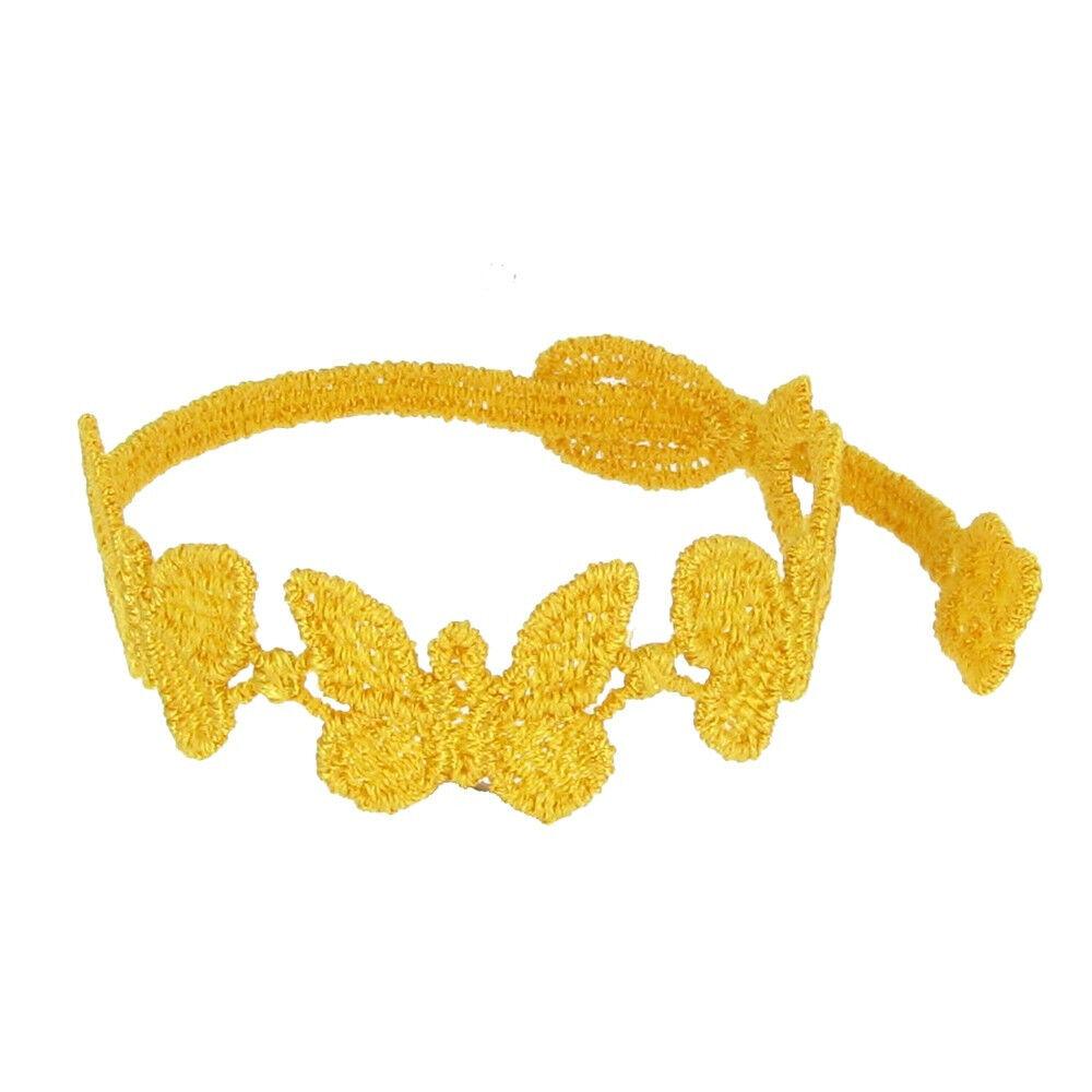 LES POULETTES BIJOUX Cruciani Bracelet Enfant Dentelle Papillons Jaune