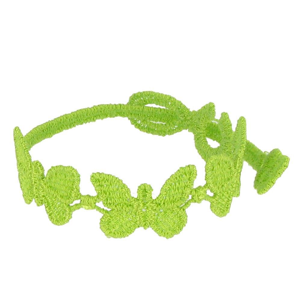 LES POULETTES BIJOUX Cruciani Bracelet Enfant Dentelle Papillons Vert