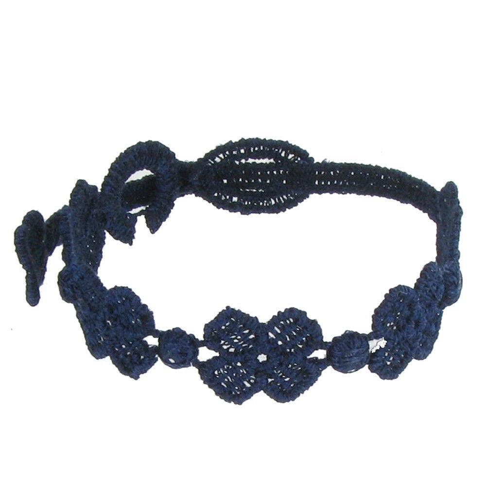 LES POULETTES BIJOUX V Cruciani Bracelet Enfant Dentelle 5 Trèfles Bleu Navy