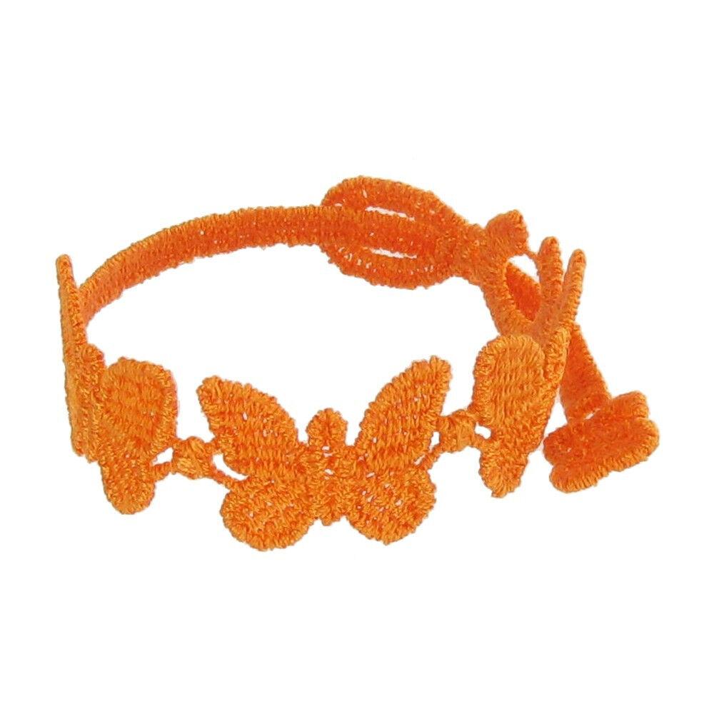 LES POULETTES BIJOUX Cruciani Bracelet Enfant Dentelle Papillons Orange