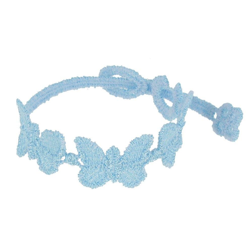 LES POULETTES BIJOUX Cruciani Bracelet Enfant Dentelle Papillons Bleu Ciel