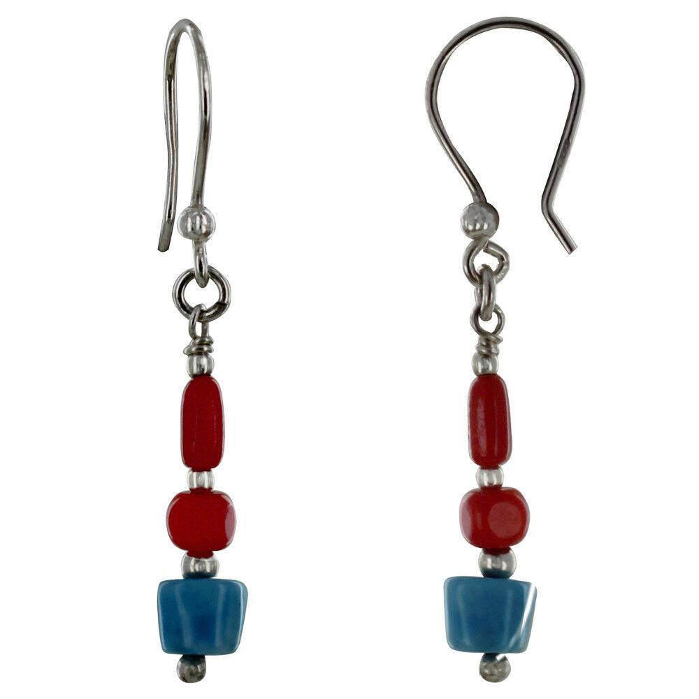 Les Poulettes Bijoux Boucles d'Oreilles Argent Perles de Bambou Rouge et Pépite de Larimar