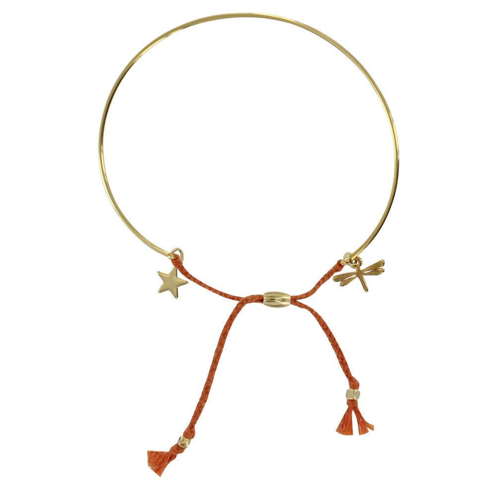 Les Poulettes Bijoux Bracelet Enfant Laiton Doré Demi Jonc Cordon Libellule et Etoile - Orange
