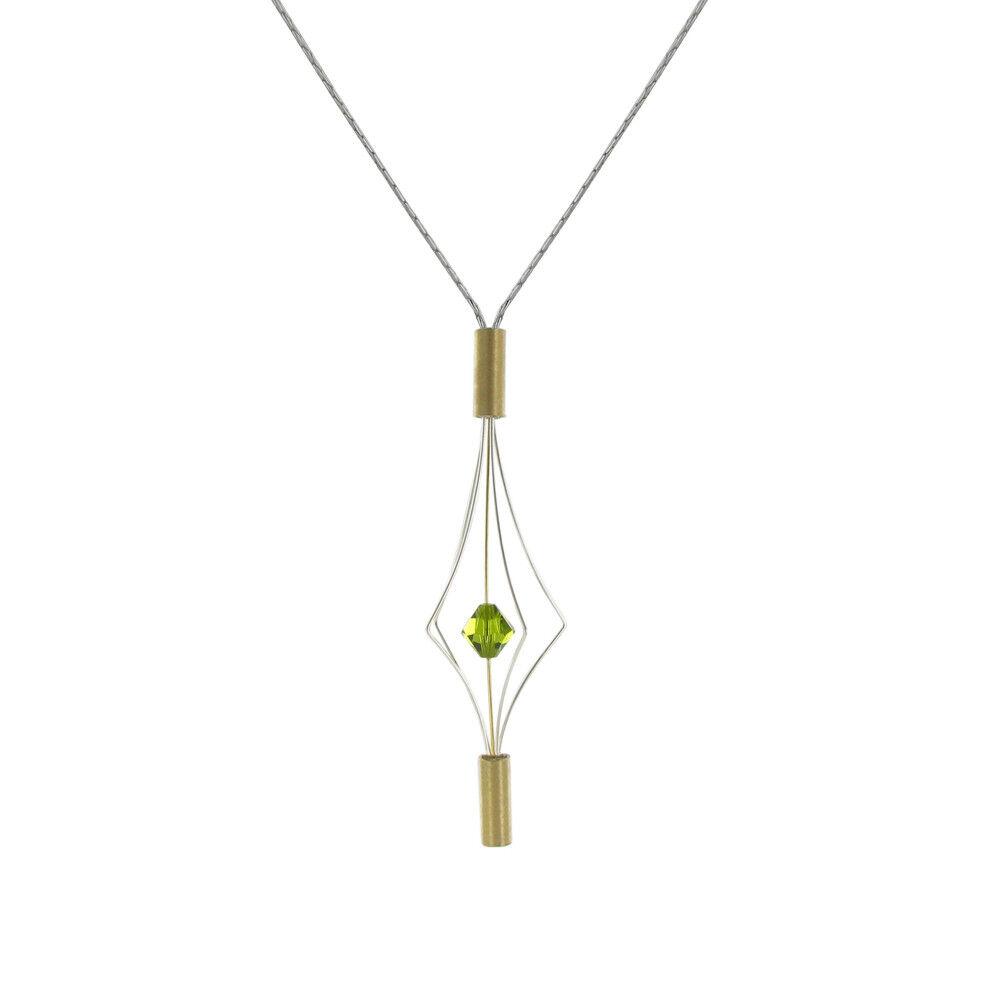 Les Poulettes Bijoux Collier Argent et Plaqué Or Lanterne et Swarovski - Petit Modèle - Vert
