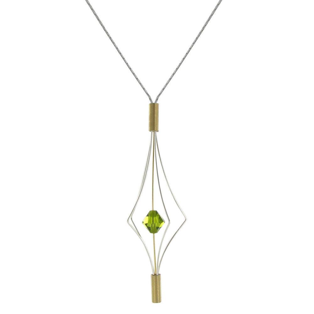 Les Poulettes Bijoux Collier Argent et Plaqué Or Lanterne et Swarovski - Grand Modèle - Vert