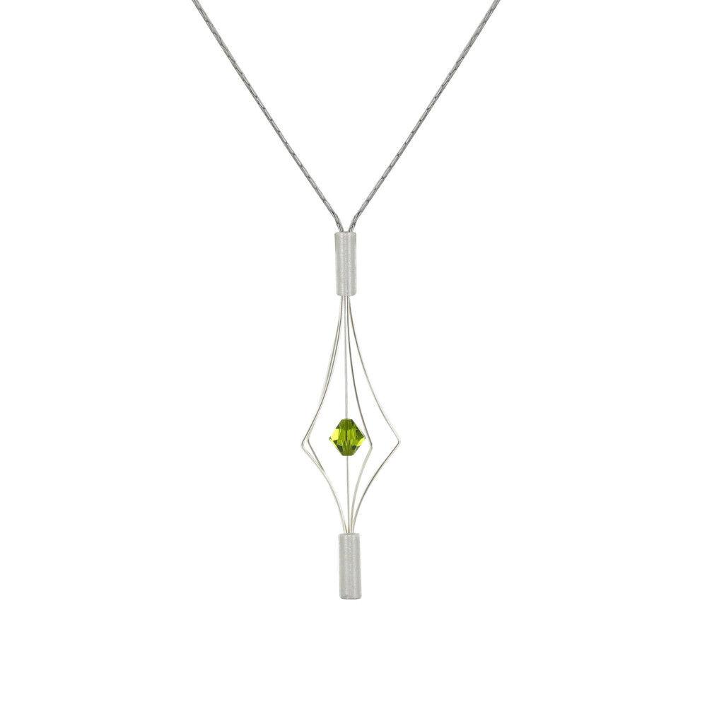 Les Poulettes Bijoux Collier Argent Lanterne et Swarovski - Petit Modèle - Vert