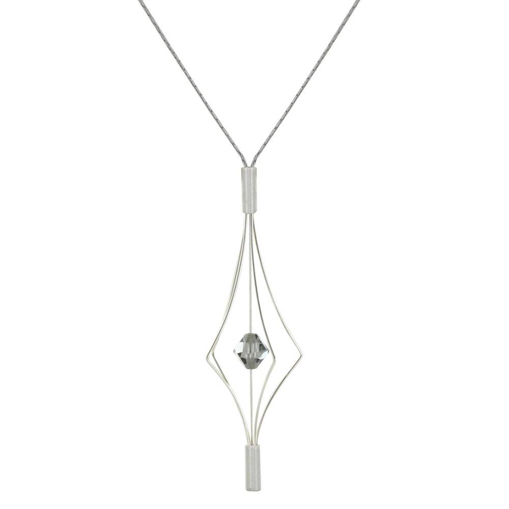 Les Poulettes Bijoux Collier Argent Lanterne et Swarovski - Grand Modèle