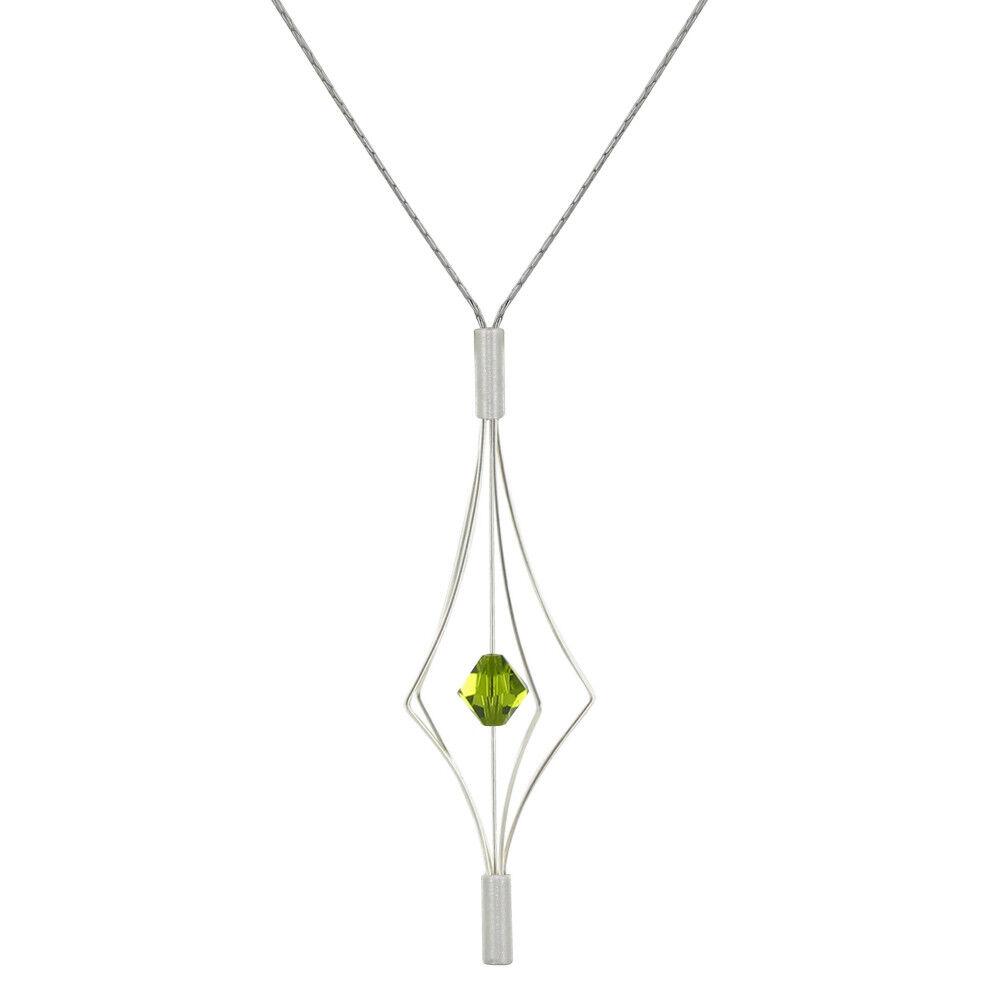 Les Poulettes Bijoux Collier Argent Lanterne et Swarovski - Grand Modèle - Vert