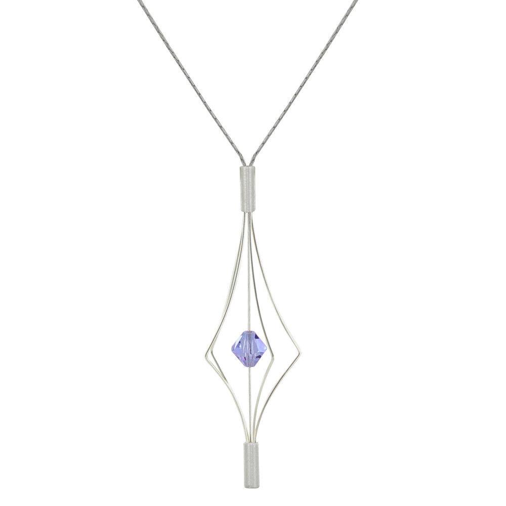 Les Poulettes Bijoux Collier Argent Lanterne et Swarovski - Grand Modèle - Violet clair
