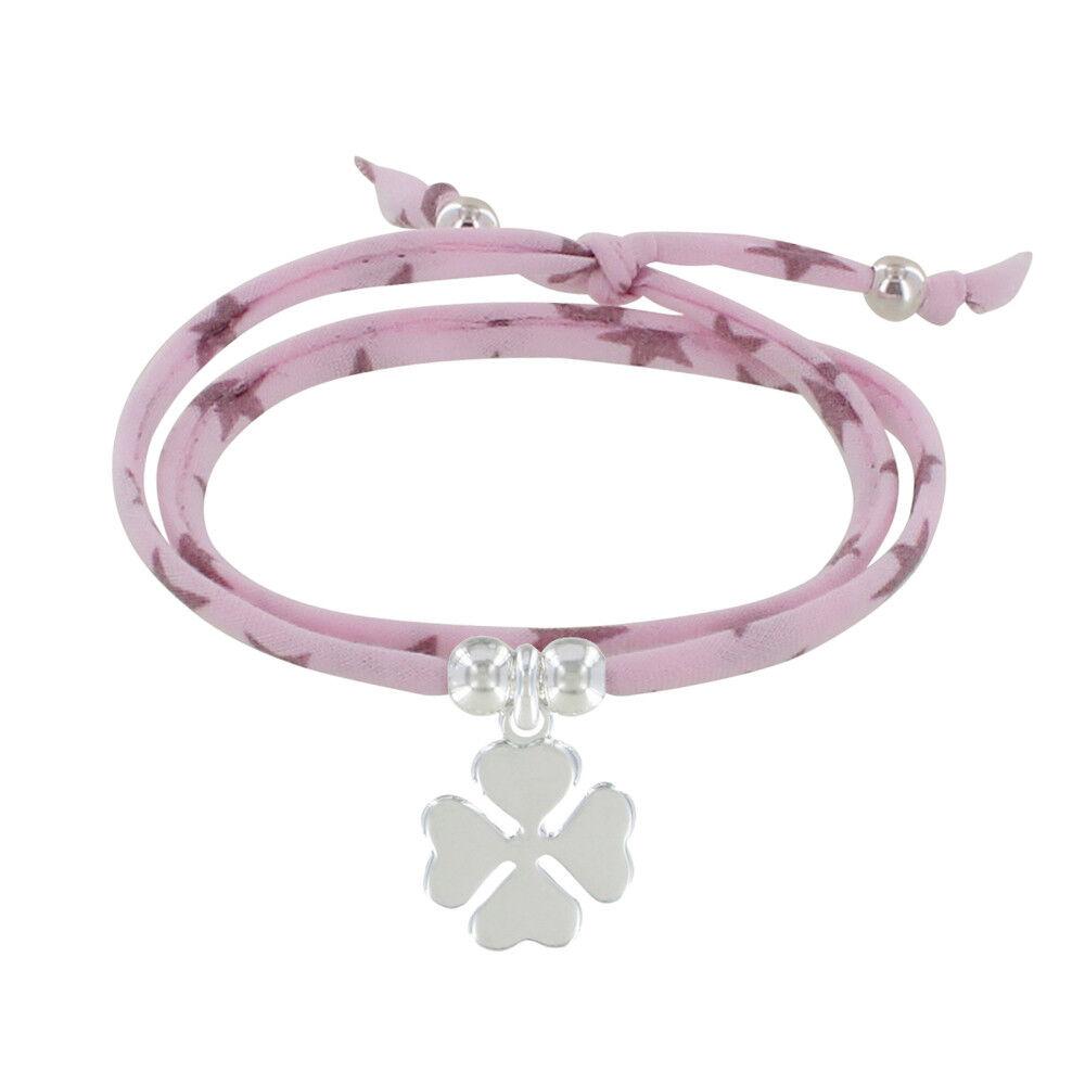 Les Poulettes Bijoux Bracelet Double Tour Lien Etoiles et Trèfle Argent - Classics - Role pale