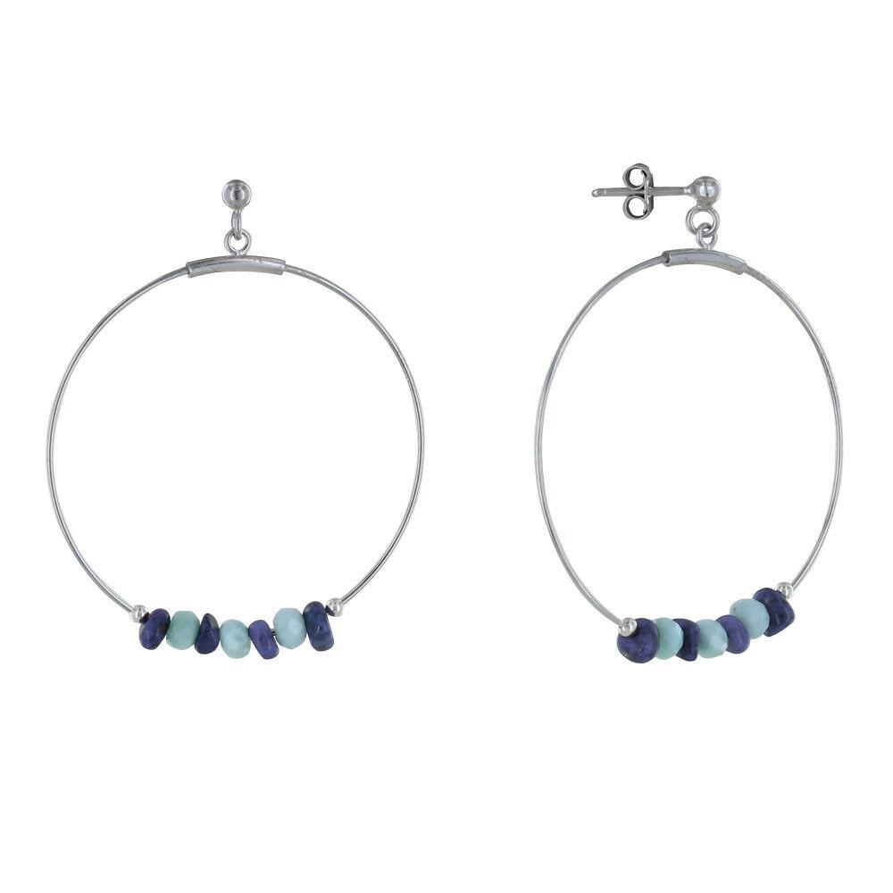 Les Poulettes Bijoux Boucles d'Oreilles Argent Rhodié Créoles Anneaux Facettés de Larimar et Pépites de Lapis Lazuli