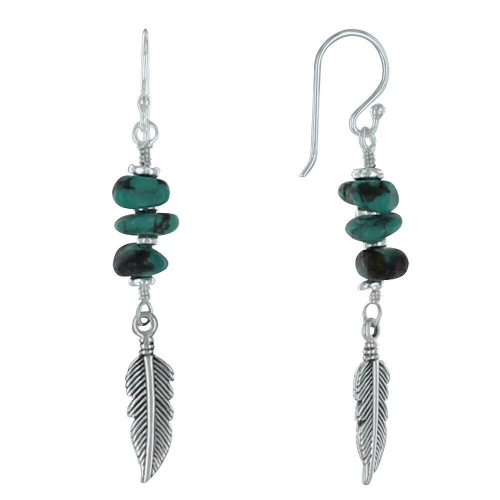 Les Poulettes Bijoux Boucles d'Oreilles Argent Plume et Trois Pépites de Turquoise