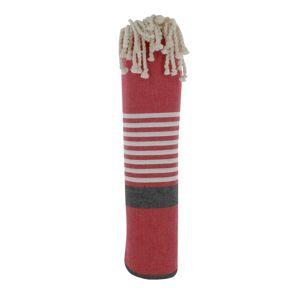 Les Poulettes Bijoux Grand Fouta Drap Plage et Hammam Coton Couleur Rouge Bande Noire Petites Rayures Blanches 150 x 250cm