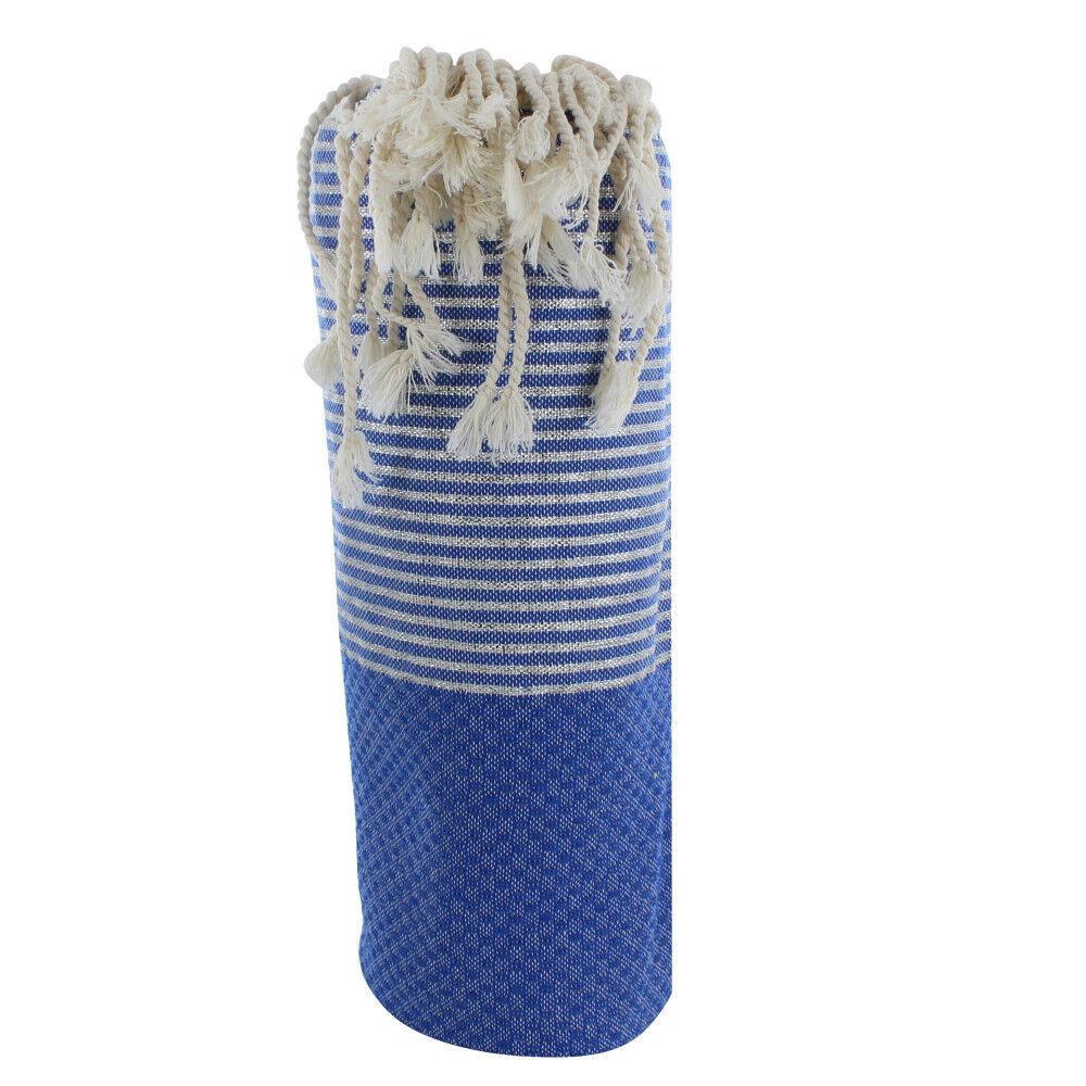 Les Poulettes Bijoux Fouta Drap Plage et Hammam Coton Nid d'Abeille Bleu Petites Rayures Lurex Argent 100 x 200cm
