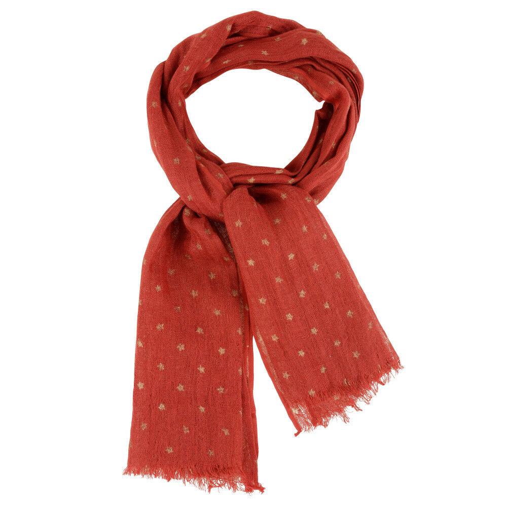 Les Poulettes Bijoux Echarpe 100% Lin Etoile Dorée Colors - Rouge