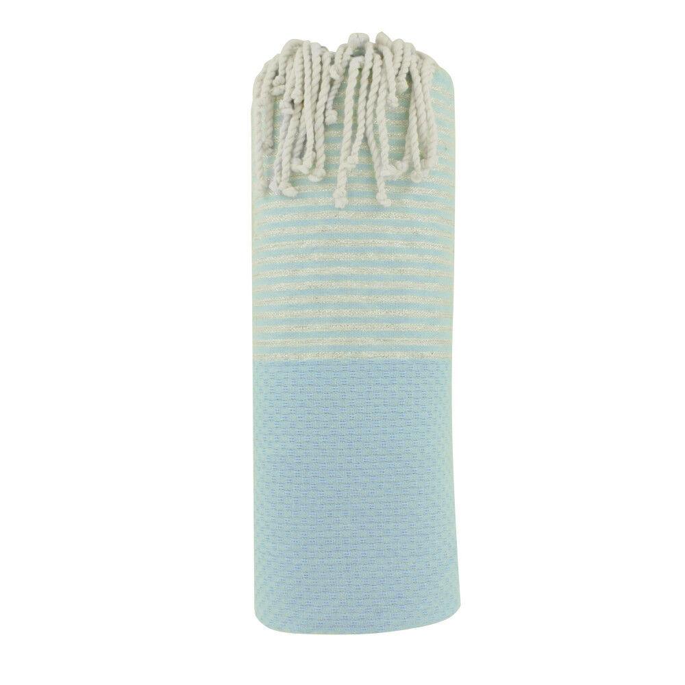 Les Poulettes Bijoux Fouta Drap Plage et Hammam Coton Nid d'Abeille Bleu Ciel Petites Rayures Lurex Argent 100 x 200cm