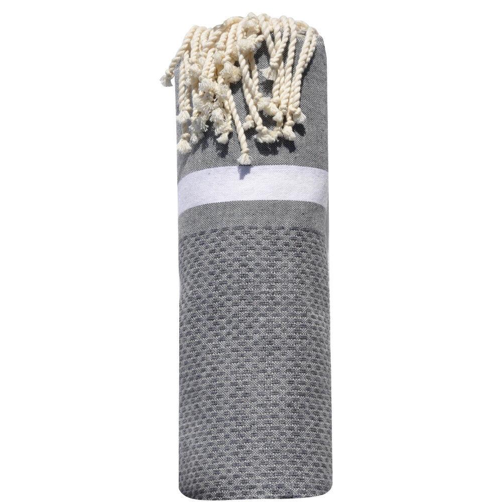 Les Poulettes Bijoux Fouta Drap Plage et Hammam Coton Nid d'Abeille avec Bande Blanche 100 x 200cm - Gris