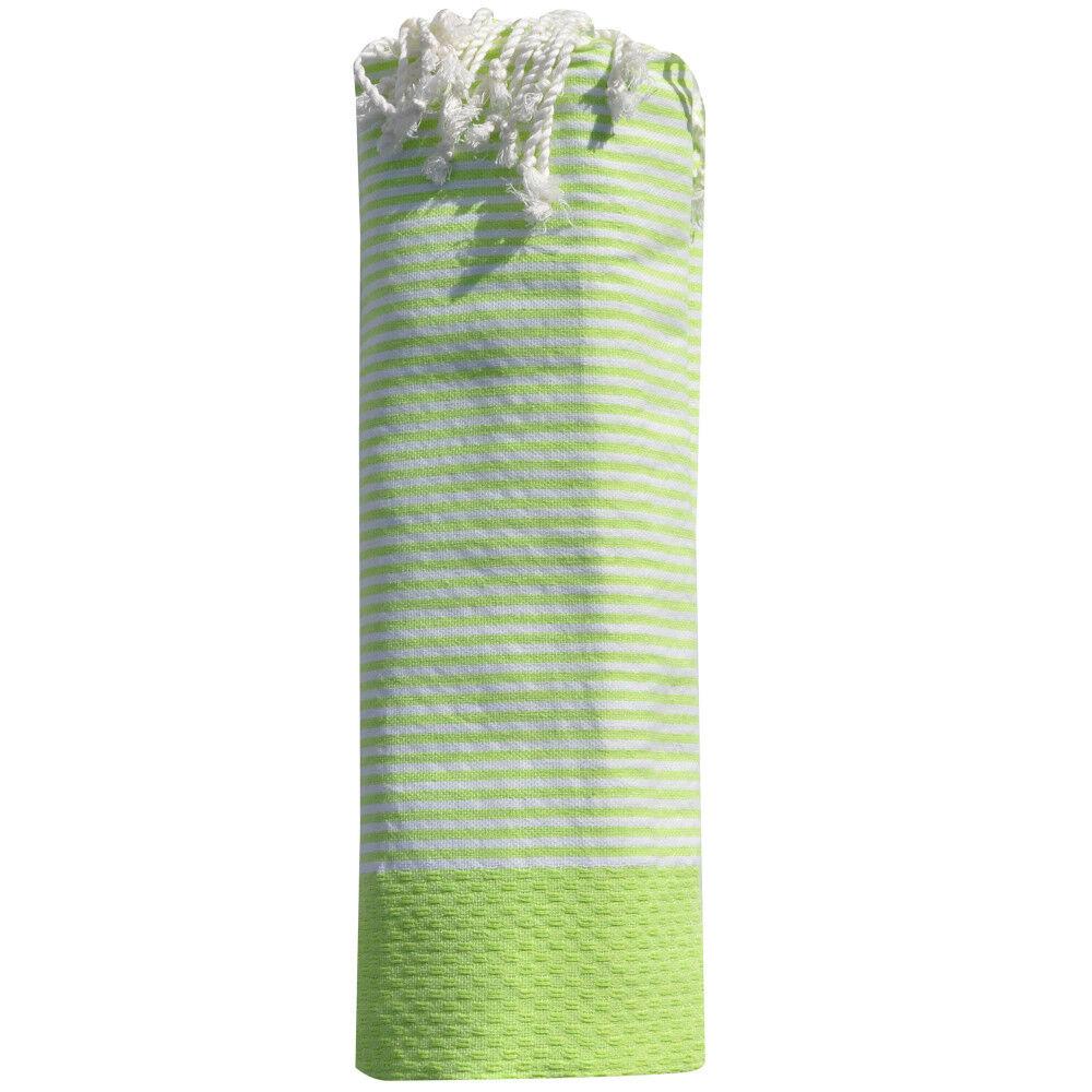 Les Poulettes Bijoux Fouta Drap Plage et Hammam Coton Nid d'Abeille Petites Rayures Blanches 100 x 200cm - Vert