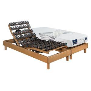 Maliterie.com Ensemble relaxation massif 4 moteurs PLENITUDE + VITAFORM , Finitions: Massif miel, Dimensions: 2x80x200cm, Télécommande: Sans fil, Confort Vitaform: Confort M-M - Publicité