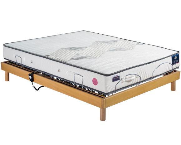 Maliterie.com Ensemble relaxation REVISSIMO + VITAFORM® latex, Finitions: Massif miel, Dimensions: 140x190cm, Télécommande: Filaire, Confort Vitaform: Confort XL-XL