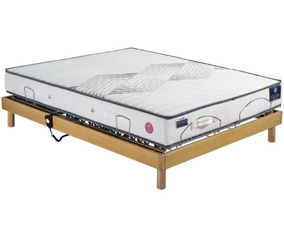 Maliterie.com Ensemble relaxation REVISSIMO + VITAFORM® latex, Finitions: Massif miel, Dimensions: 140x190cm, Télécommande: Filaire, Confort Vitaform: Confort S-L