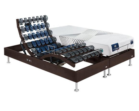 Maliterie.com Ensemble relaxation massif 2 moteurs FELICITY + VITAFORM, Finitions: Massif chocolat, Dimensions: 2x90x200cm, Confort Vitaform: Confort L-L