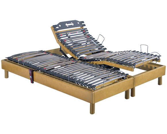 Maliterie.com Sommier électrique massif 2 moteurs HARMONIE, Finitions: Massif miel, Dimensions: 2x80x200cm, Télécommande: Sans fil