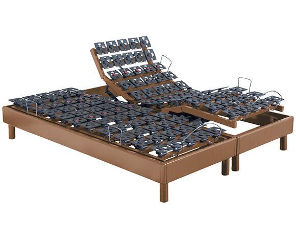 Maliterie.com Sommier électrique massif 2 moteurs PLENITUDE , Finitions: Massif merisier, Dimensions: 2x80x200cm, Télécommande: Sans fil
