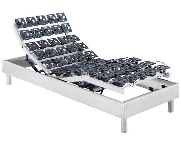 Maliterie.com Sommier électrique solo massif 2 moteurs PLENITUDE, Finitions: Massif blanc, Dimensions: 90x200cm, Télécommande: Sans fil