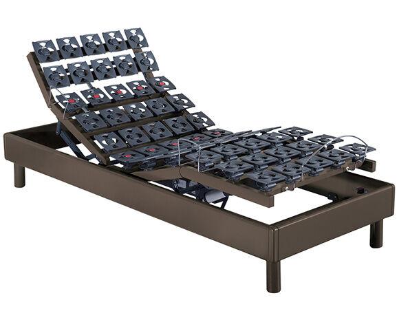 Maliterie.com Sommier électrique solo massif 4 moteurs PLENITUDE, Finitions: Massif chocolat, Dimensions: 90x200cm, Télécommande: Sans fil
