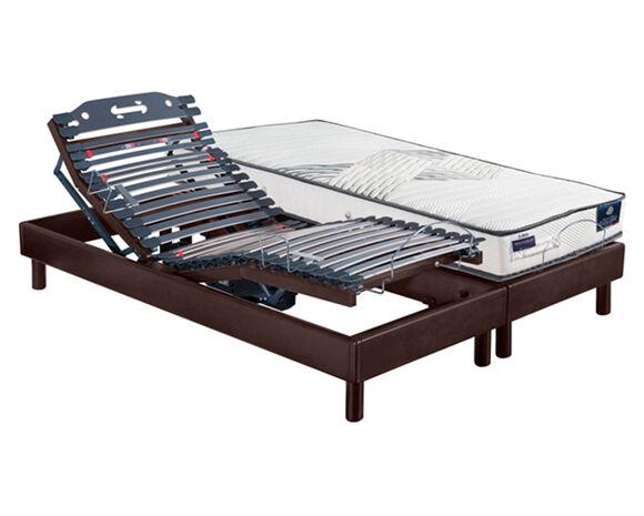 Maliterie.com Ensemble relaxation massif 4 moteurs HARMONIE + VITAFORM® latex, Finitions: Massif chocolat, Dimensions: 2x90x200cm, Télécommande: Sans fil, Confort Vitaform: Confort M-XL