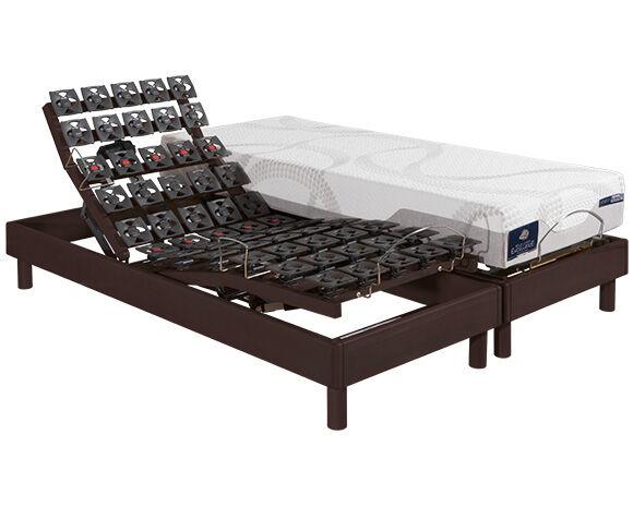Maliterie.com Ensemble relaxation massif 4 moteurs PLENITUDE + KINEO, Finitions: Massif chocolat, Dimensions: 2x90x200cm, Télécommande: Sans fil