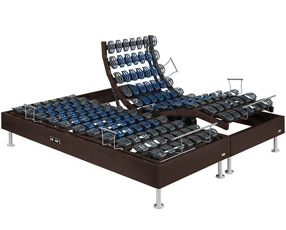 Maliterie.com Sommier électrique à plots 4 moteurs FELICITY bois massif, Finitions: Massif chocolat, Dimensions: 2x90x200cm