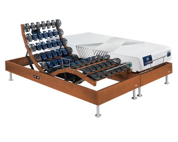 Maliterie.com Ensemble relaxation massif 2 moteurs FELICITY + VITAFORM, Finitions: Massif merisier, Dimensions: 2x80x200cm, Confort Vitaform: Confort S-L